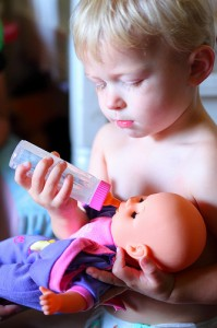 Little Daddy Bottle Feeding Baby Doll