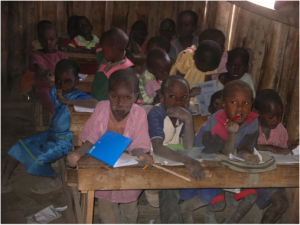 Masai children in the village school