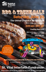 BBQ & Trunk Sale  Habitat for Humanity @ United Church in Meadowood - Parking Lot