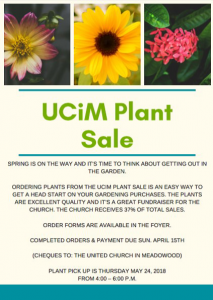 UCiM Plant Sale  -  plant pick-up @ United Church in Meadowood | Winnipeg | Manitoba | Canada