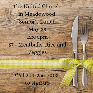Senior's lunch - May @ United Church in Meadowood