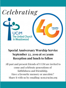 40th Anniversary of UCiM @ United Church in Meadowood