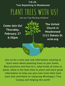 Tree Replanting in Meadowood  -  tree pick-up @ United Church in Meadowood | Winnipeg | Manitoba | Canada